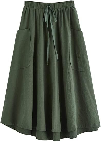 SweatyRocks high waist A-line midi skirt | 40plusstyle.com