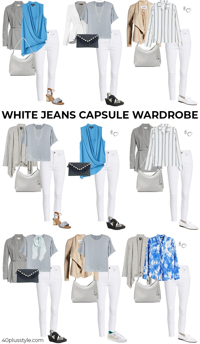 A white jeans capsule wardrobe | 40plusstyle.com
