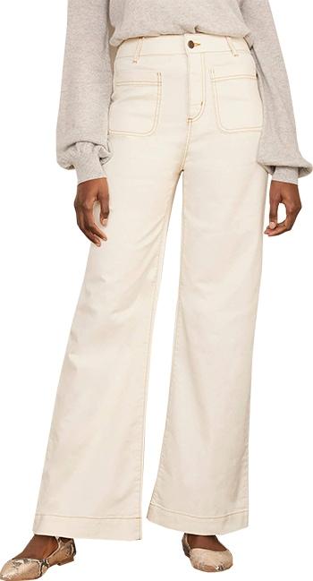 Boden patch pocket wide leg jeans | 40plusstyle.com