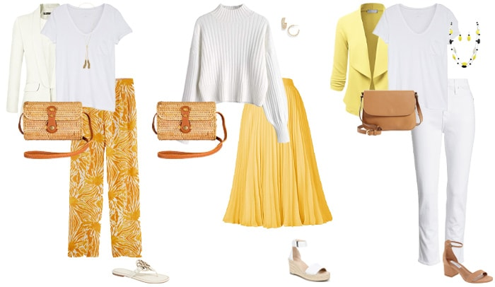 White and yellow outfits   40plusstyle.com