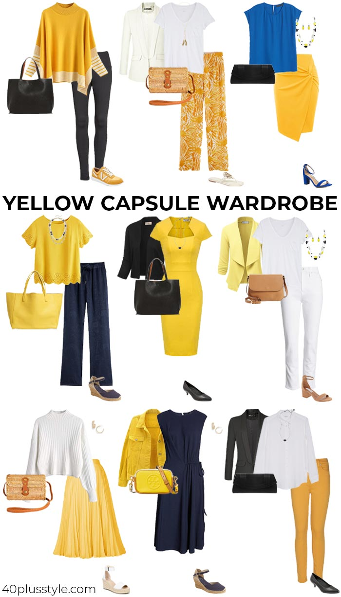 Blue and yellow outfits   40plusstyle.com