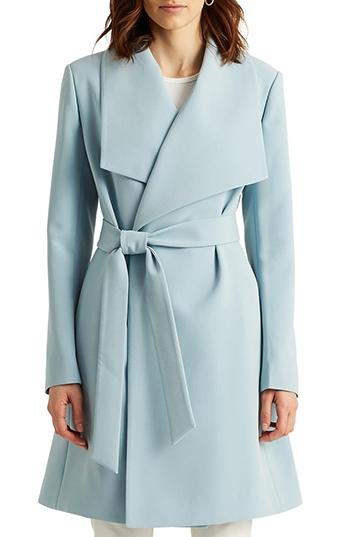 Nordstrom half yearly sale - Lauren Ralph Lauren Belted Drape Front Coat   40plusstyle.com