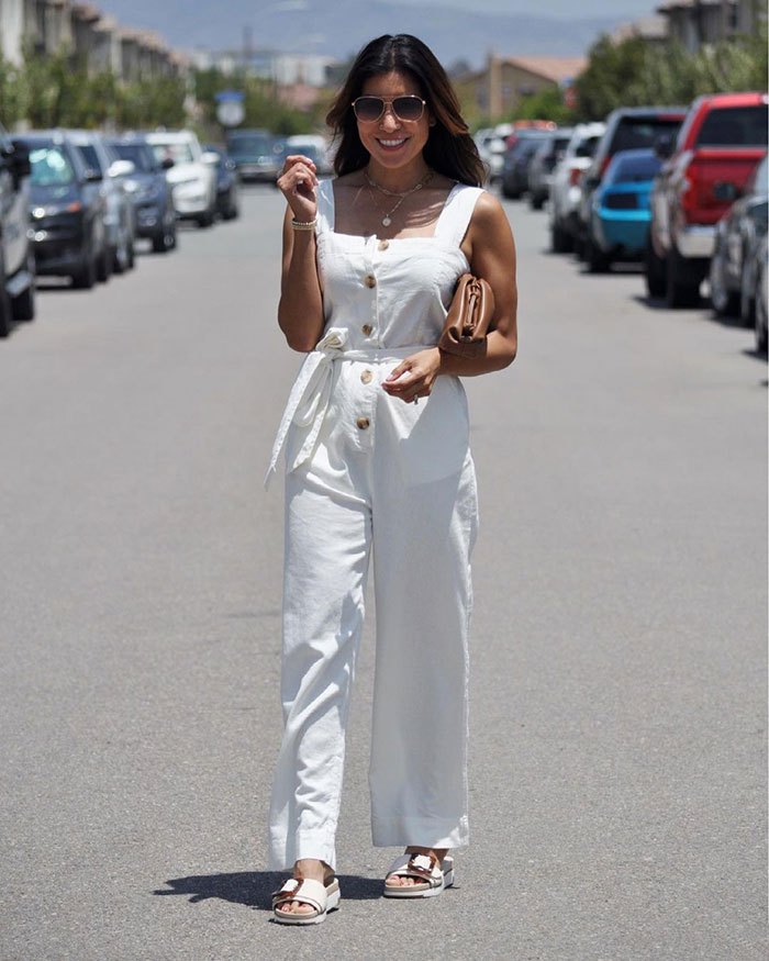 Summer jumpsuits for women - Adaline in a white jumpsuit | 40plusstyle.com