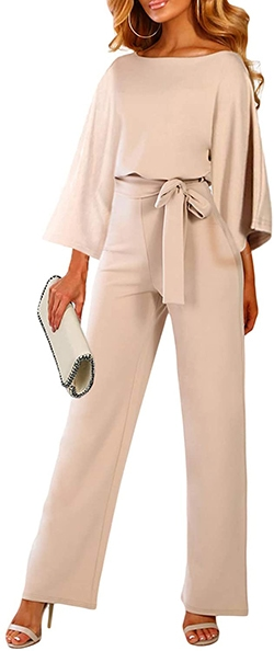 Happy Sailed Belted Wide Leg Jumpsuit | 40plusstyle.com