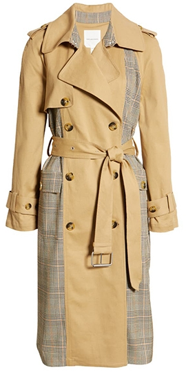 Nordstrom half yearly sale - Avec Les Filles Plaid Combo Cotton Blend Trench Coat   40plusstyle.com