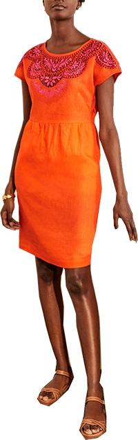 Boden embroidered linen dress   40plusstyle.com