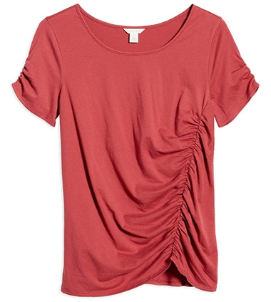 Nordstrom half yearly sale - Caslon Ruched Knit T-Shirt   40plusstyle.com