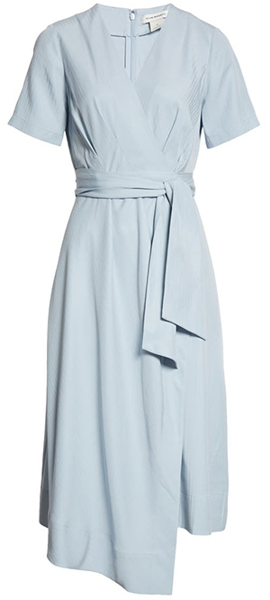 Club Monaco asymmetrical faux wrap dress   40plusstyle.com