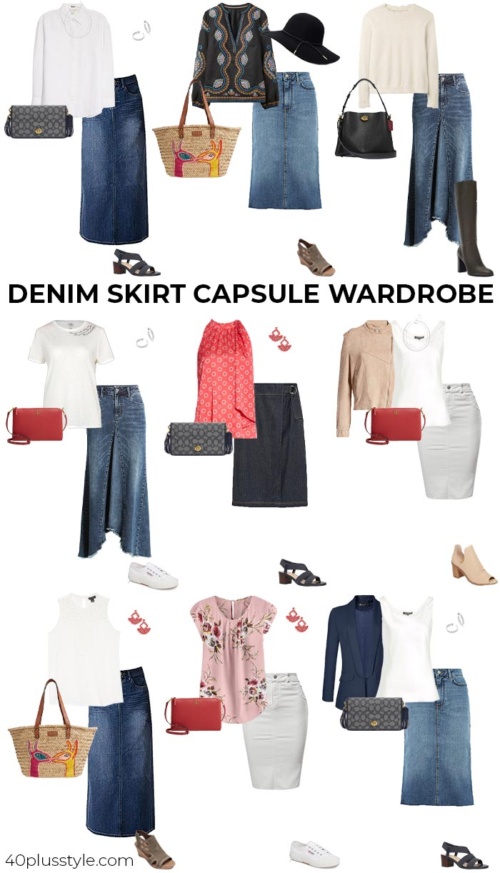 Denim skirt capsule wardrobe | 40plusstyle.com