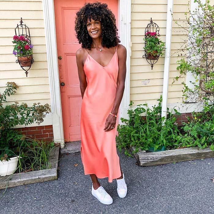 Diane in an orange dress   40plusstyle.com