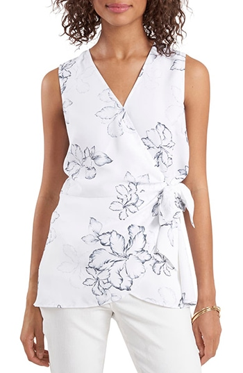 Vince Camuto Floral Beauty Wrap Front Sleeveless Blouse   40plusstyle.com