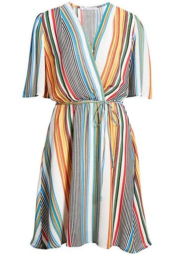 Dresses to hide a tummy - Fraiche by J stripe faux wrap dress   40plusstyle.com