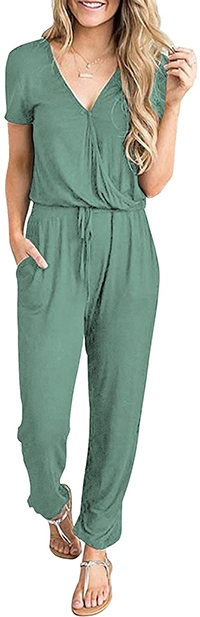 PRETTYGARDEN V-neck Wrap Drawstring Waist Jumpsuit  | 40plusstyle.com