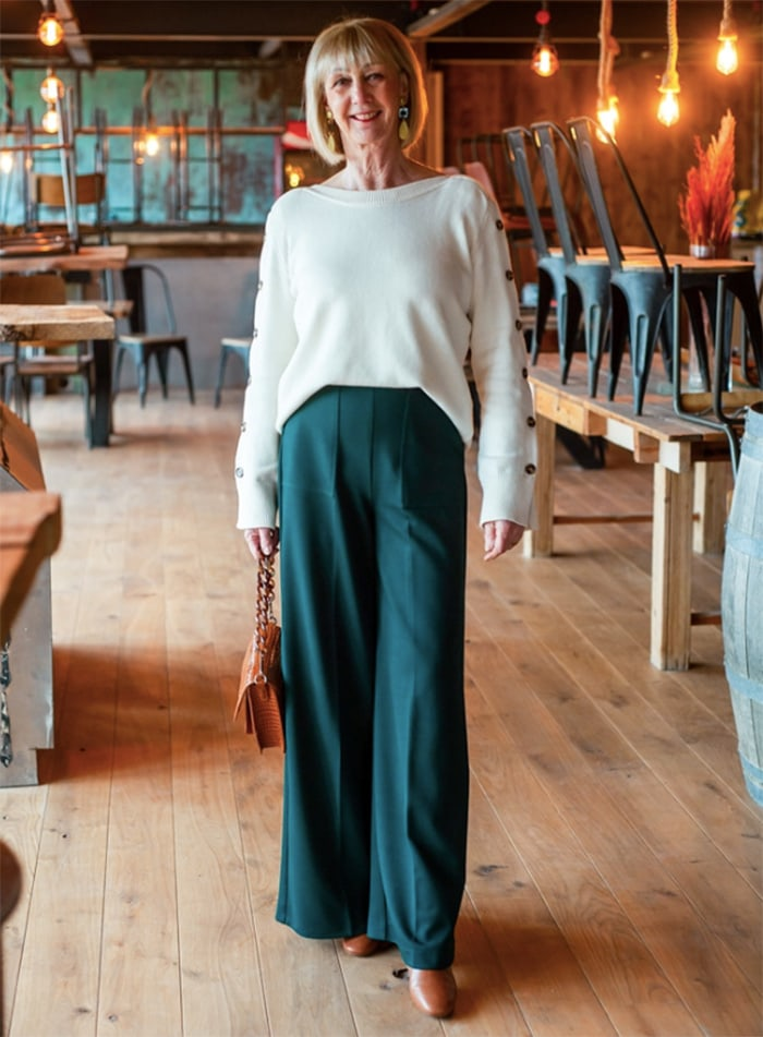 Greetje no_fear_of_fashion in cream jumper and wide leg pants | 40plusstyle.com