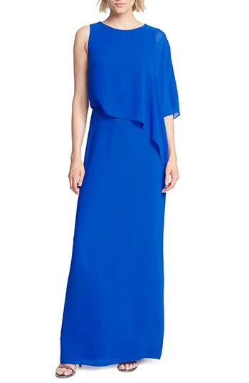 Halston Heritage one-shoulder asymmetrical overlay gown   40plusstyle.com