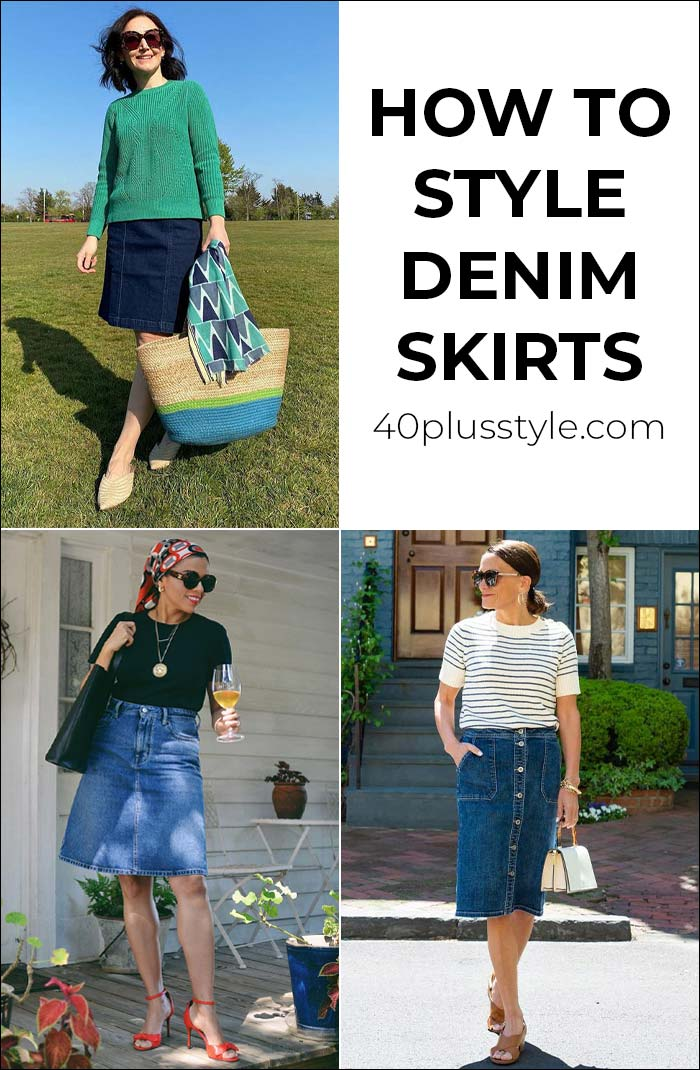 How to style a denim skirt | 40plusstyle.com