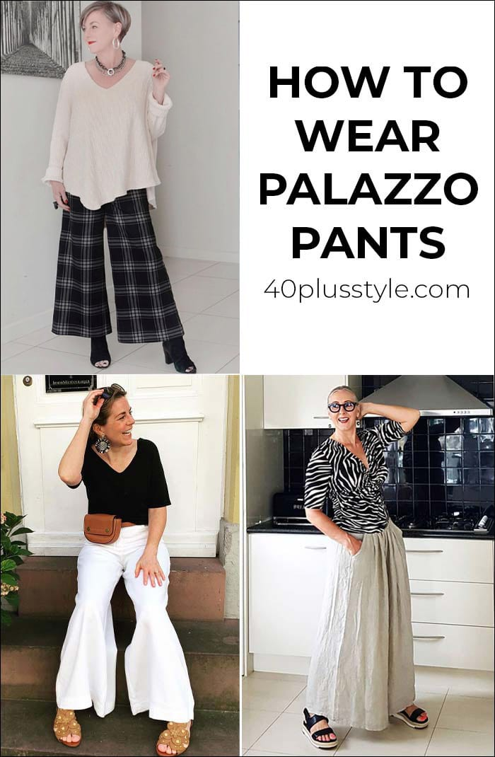 How to wear palazzo pants: your guide to putting together the best palazzo pants outfits | 40plusstyle.com