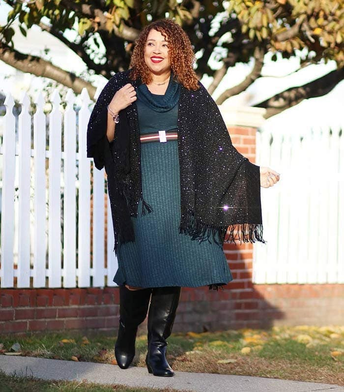Dresses to hide a tummy - sweater dress   40plusstyle.com