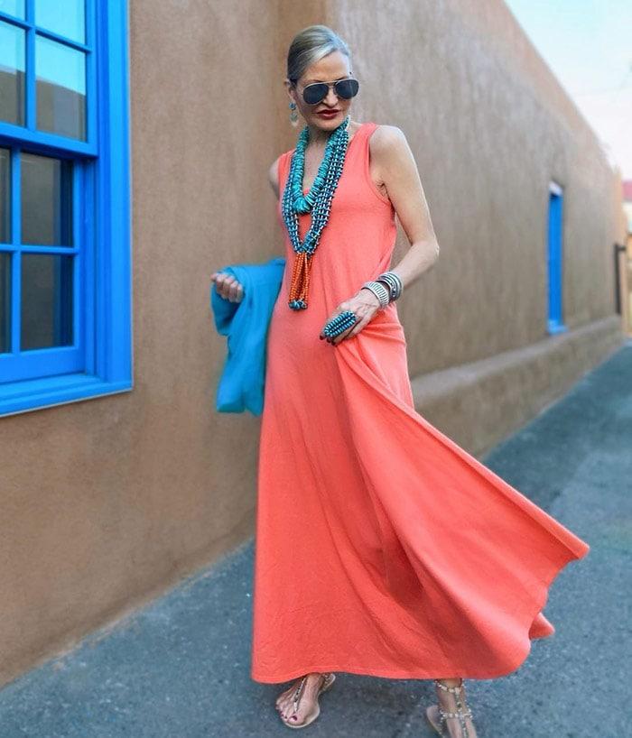 Jamie wears orange with turquoise   40plusstyle.com