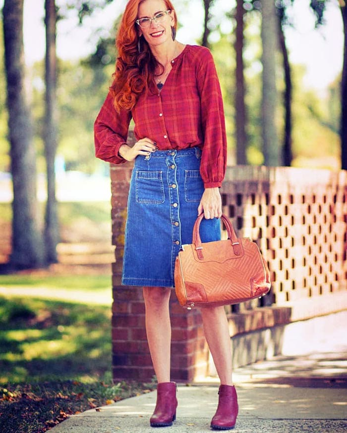 Jess in a denim skirt and check blouse | 40plusstyle.com