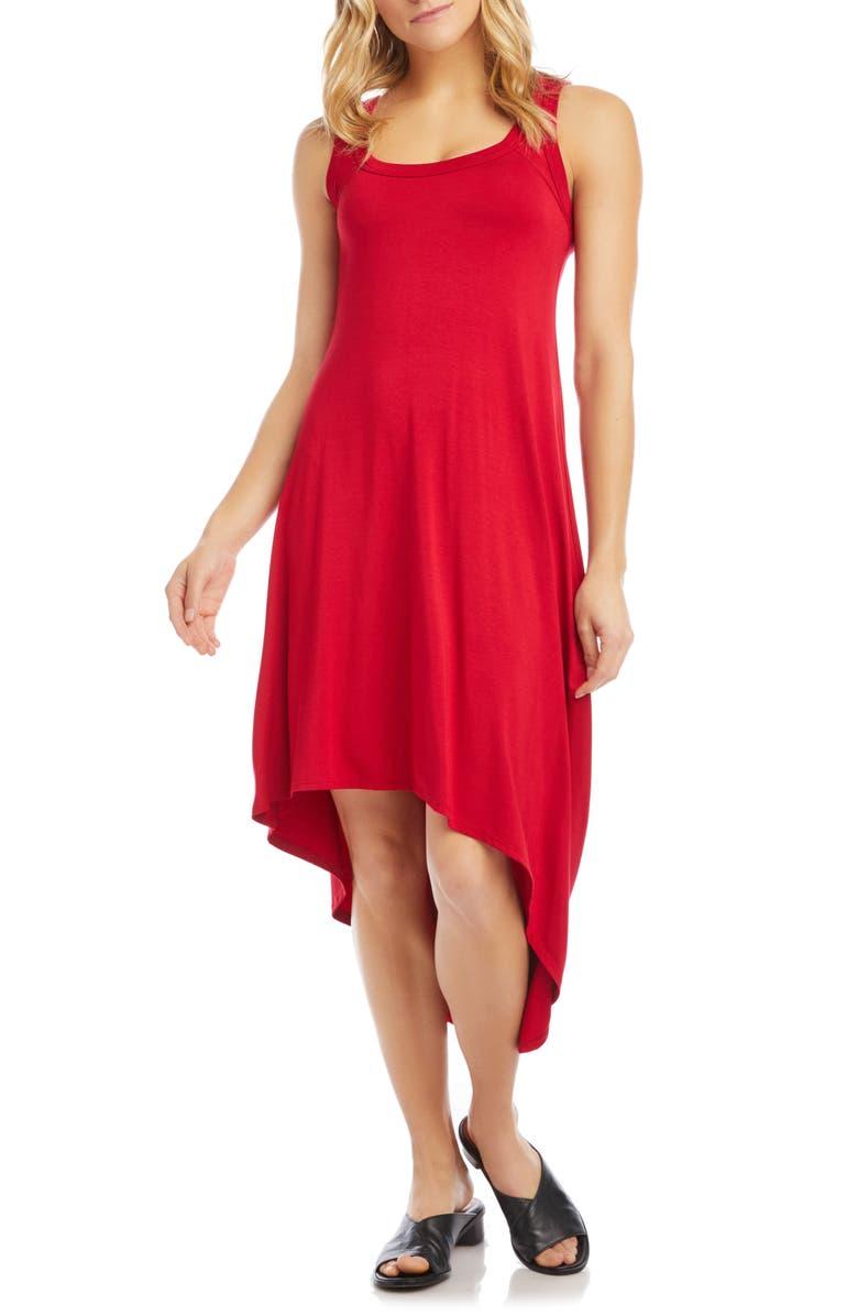 Karen Kane asymmetrical hem dress   40plusstyle.com