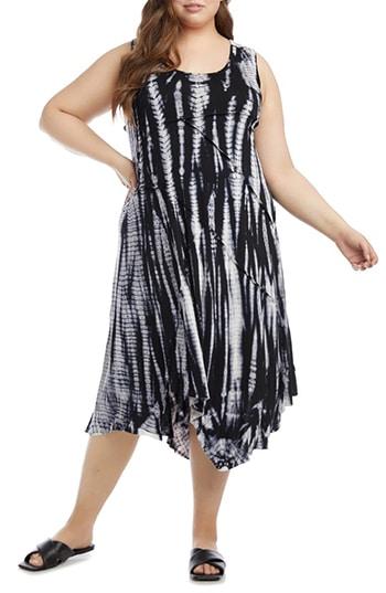 Dresses to hide a tummy - Karen Kane tie dye asymmetrical dress   40plusstyle.com