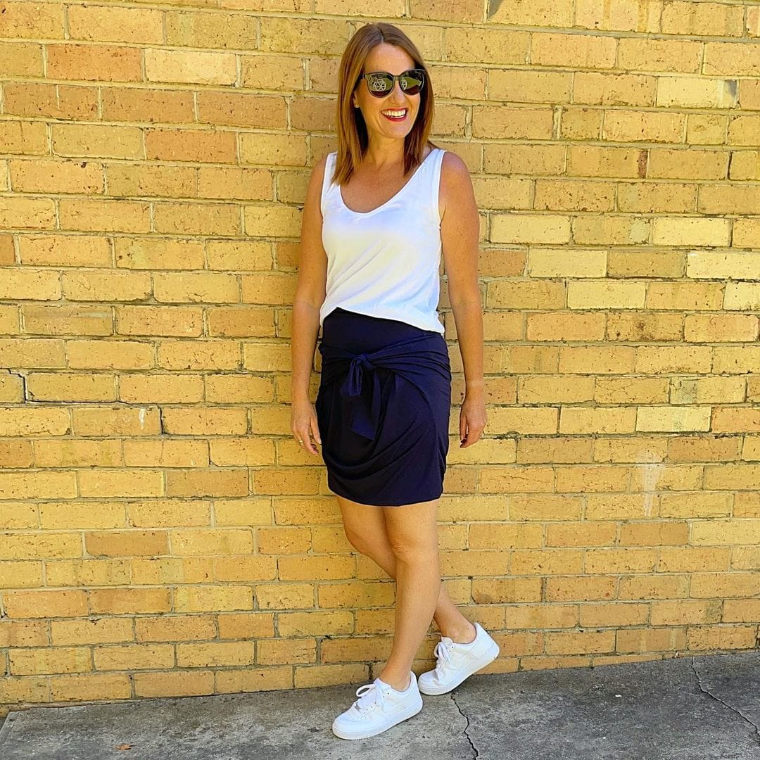 Karen in a jersey skirt and sneakers   40plusstyle.com