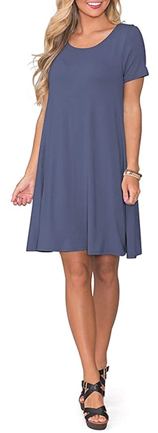 Dresses to hide a tummy - KORSIS  T-shirt swing dress   40plusstyle.com