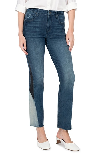 KUT from the Kloth Kelsey High Waist Inset Flare Jeans   40plusstyle.com