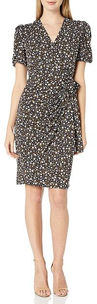 Lark & Ro gathered puff sleeve wrap dress   40plusstyle.com