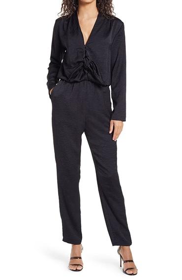 Fraiche by J Long Sleeve Tie Front Jumpsuit | 40plusstyle.com