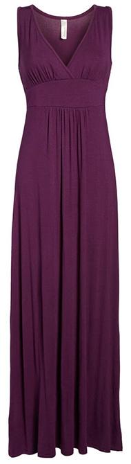 Loveappella V-Neck Jersey Maxi Dress   40plusstyle.com