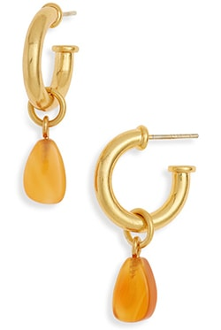 Madewell Carnelian Charm Chunky Small Hoop Earrings   40plusstyle.com