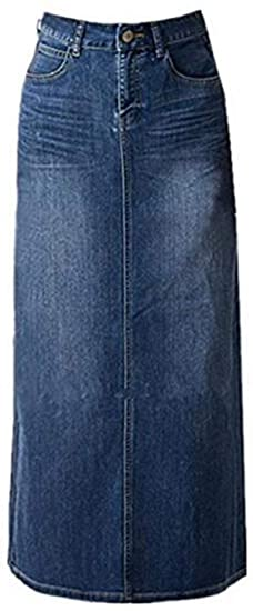 Skirt BL maxi pencil jean skirt | 40plusstyle.com