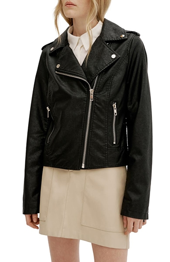 Nordstrom half yearly sale - Noize Ivanna Faux Leather Moto Jacket   40plusstyle.com