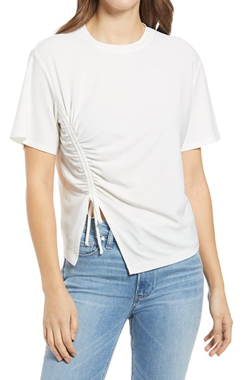 Nordstrom half yearly sale - Nordstrom Ruched Side T-Shirt   40plusstyle.com