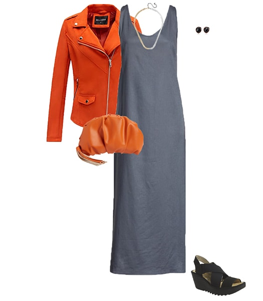 Orange and gray outfit   40plusstyle.com