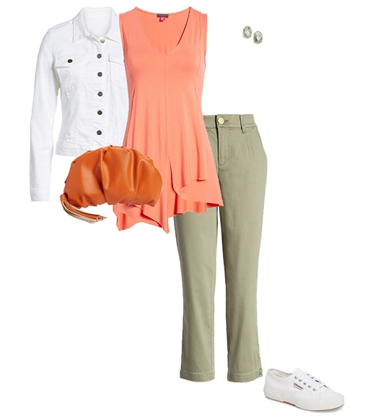 Orange with green outfit   40plusstyle.com