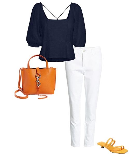 Orange and navy blue   40plusstyle.com