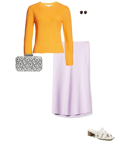 Orange sweater and purple skirt   40plusstyle.com