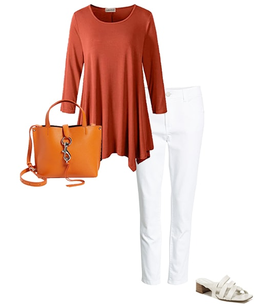 Orange and white outfit   40plusstyle.com
