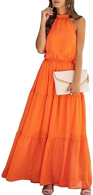 PRETTYGARDEN halter neck maxi dress   40plusstyle.com