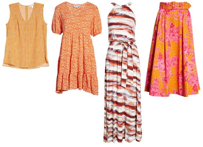 Orange printed clothes   40plusstyle.com