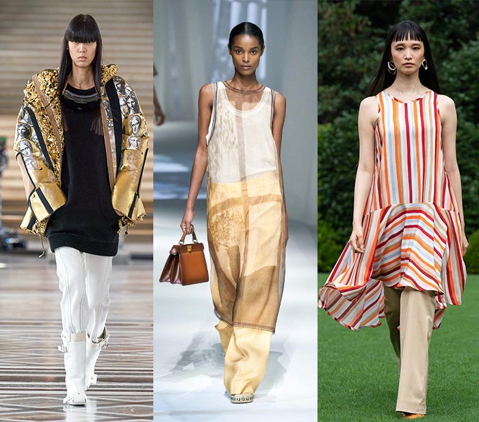 Designers take on how to wear tunics or short dresses over pants   40plusstyle.com