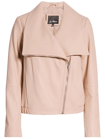 Nordstrom half yearly sale - Sam Edelman Drape Front Leather Bomber Jacket   40plusstyle.com