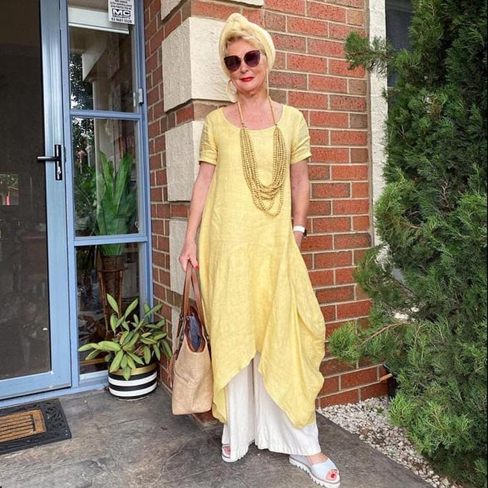 Sharryn wears a dress over pants | 40plusstyle.com