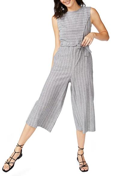 Court & Rowe Pinstripe Crop Jumpsuit | 40plusstyle.com