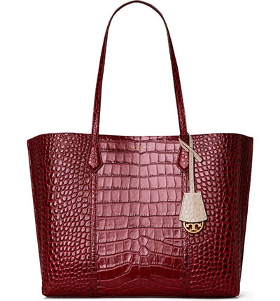Tory Burch Perry Croc Embossed Leather Tote | 40plusstyle.com