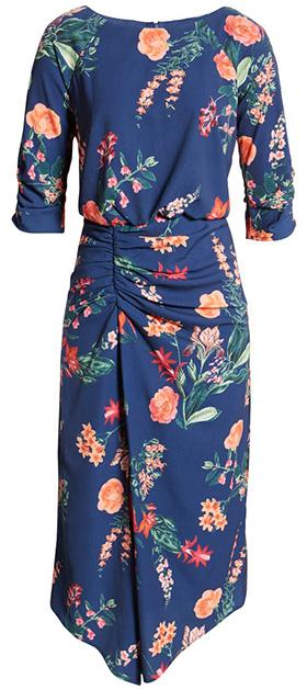 Vince Camuto floral asymmetrical hem dress   40plusstyle.com
