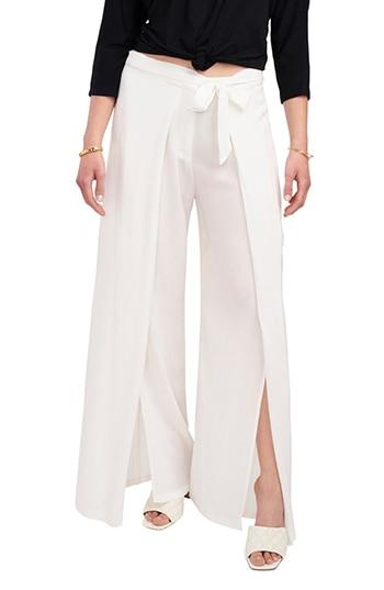 Vince Camuto tie waist slit cuff wide leg pants | 40plusstyle.com
